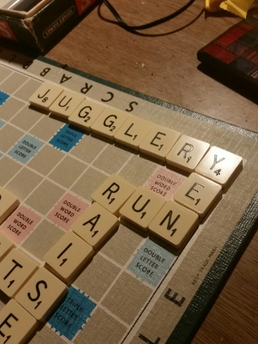 Old style Scrabble family board game mid action