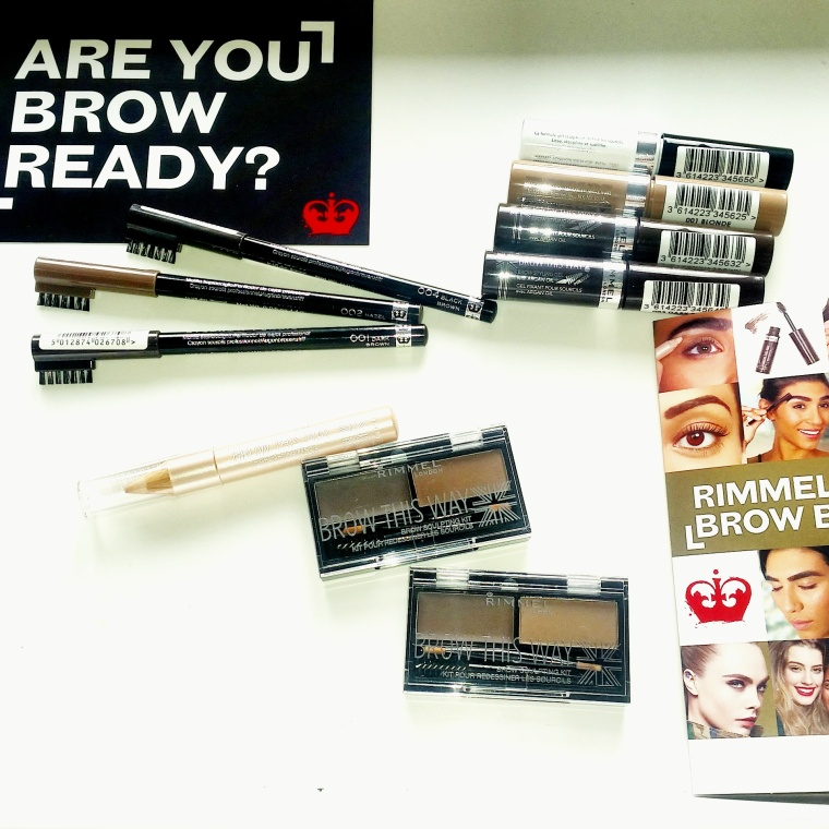 The full range of the brow this way collection including various shades and product information by Rimmel