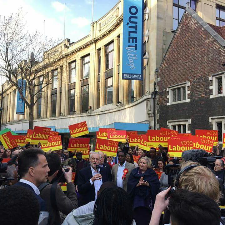 A group of Labour supporters meet to see Corbyn lunch the general election 2017 campaign