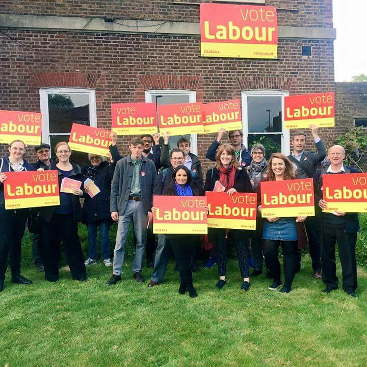 A group meet to campaign for Labour in Croydon Central