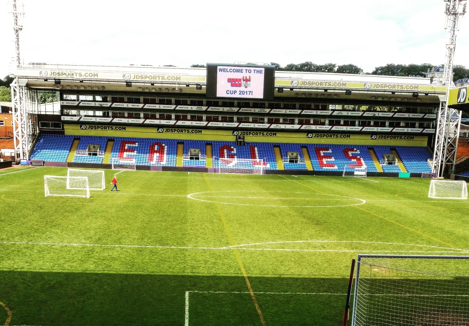Crystal Palace Beer Festival - the pitch with the big screen for the FA Cup with sun beaming down onto it. 2017.