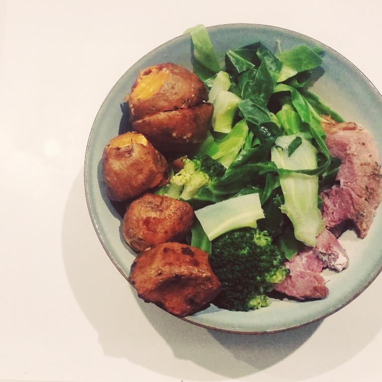Gammon, sweet potato, cabbage and broccoli
