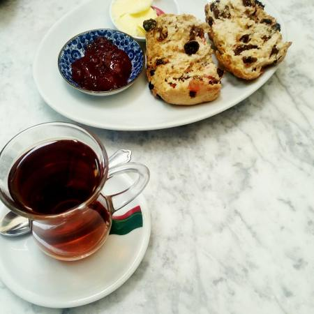 Warm scone and tea
