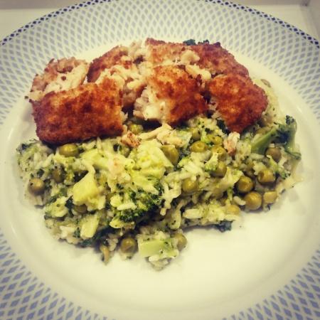 Pea, broccoli and mint risotto