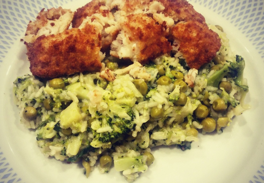 Vegetable risotto with breaded cod