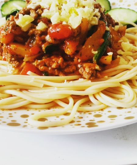 Spaghetti bolognese up close