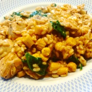 A fancier chicken and sweetcorn risotto compared to the past