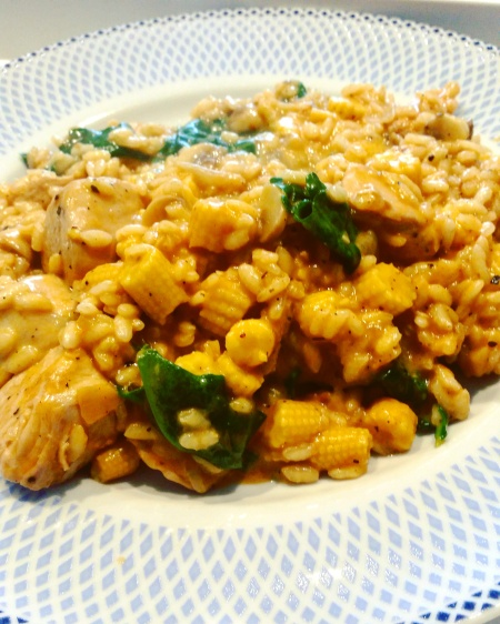Chicken, baby corn and spinach risotto