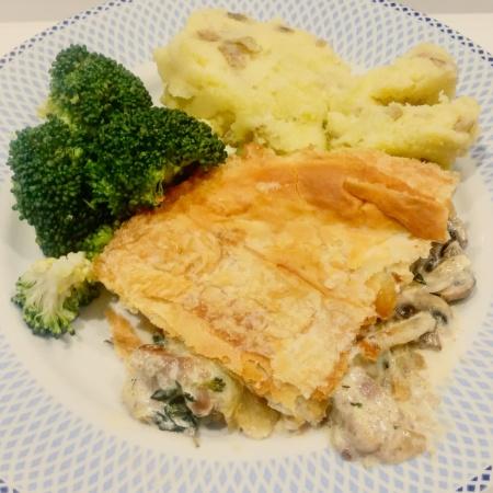 Pork and mushroom pie, broccoli and mash