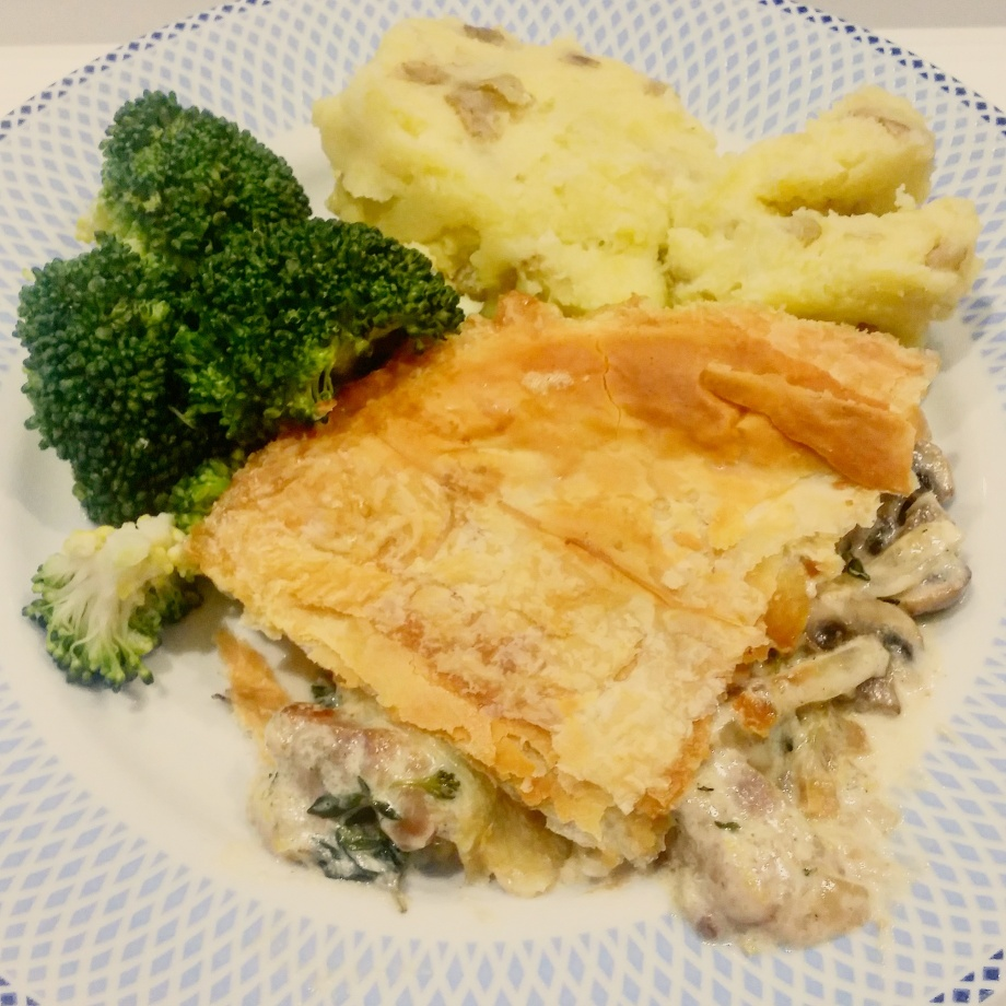 Pork and mushroom pie, broccoli and mash