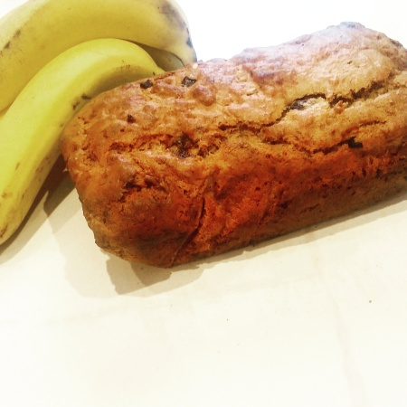 vegan banana bread and bananas