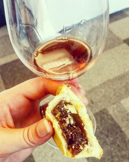 Red wine and sweet pastry treat