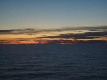 Sunset in 2012 from the cruise ship around the Baltics