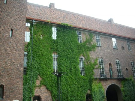 Cover in ivy, City Hall in Stockholm in 2012