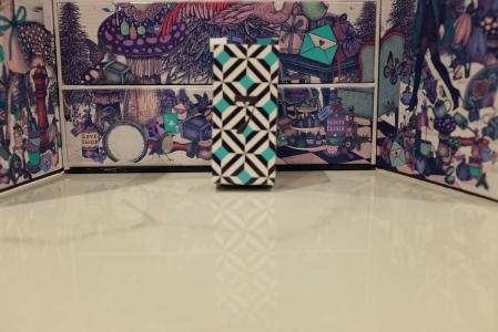 Geometric design of Look Fantasitc advent calendar box in white, black and blue