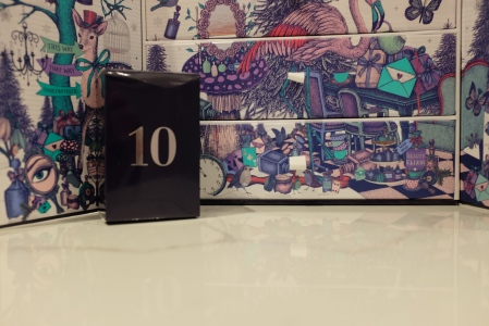 Navy box in front of the Look Fantastic advent calendar.