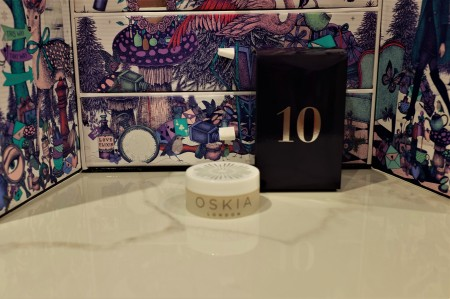 Look Fantastic advent calendar navy box in front of drawers with product from the box