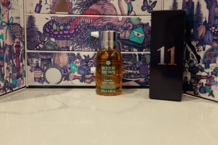 Navy box with the Molton Brown shower gel mini