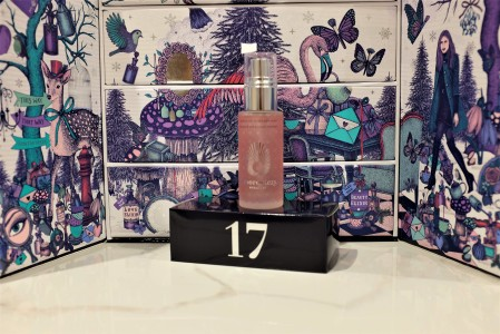 Advent calendar by Look Fantastic 2017 day seventeen glass bottle on display
