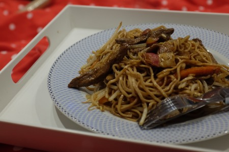 Egg noodles, beef strips and vegetables