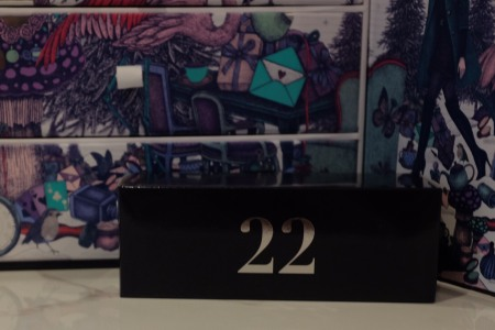 Navy box with 22 on it for Christmas advent calendar