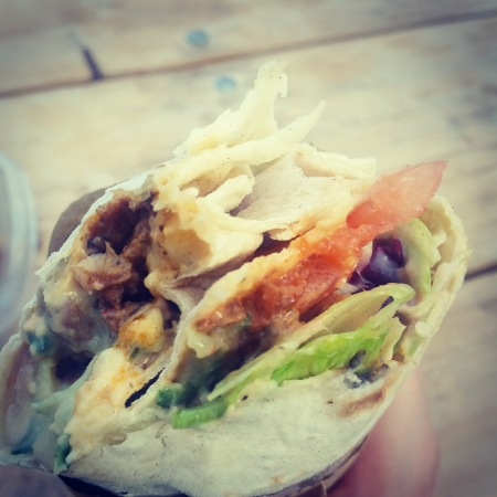 The vegan wrap from What The Pitta before it ended up getting incredibly messy