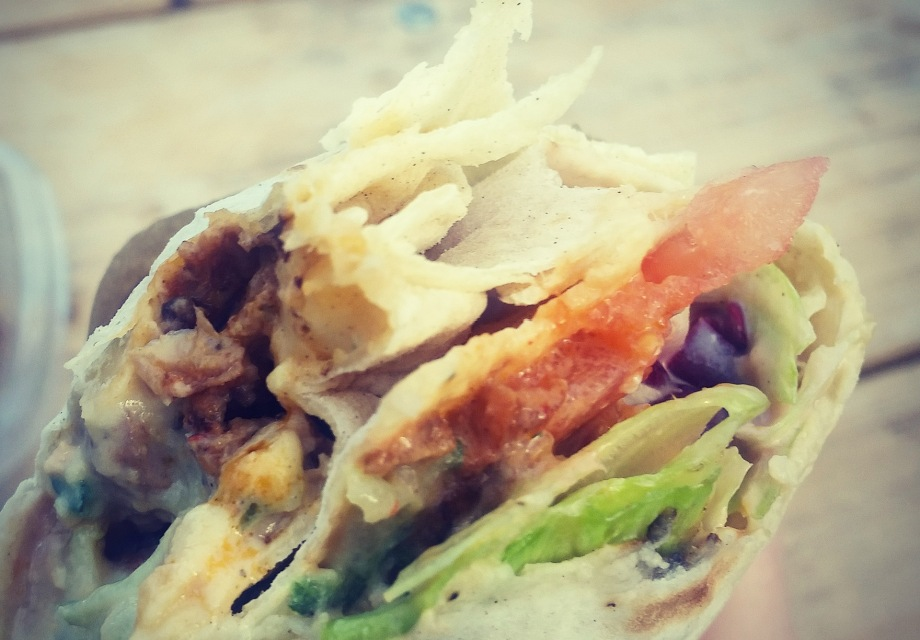 Inside of a vegan wrap by What The Pitta in Croydon's Boxpark