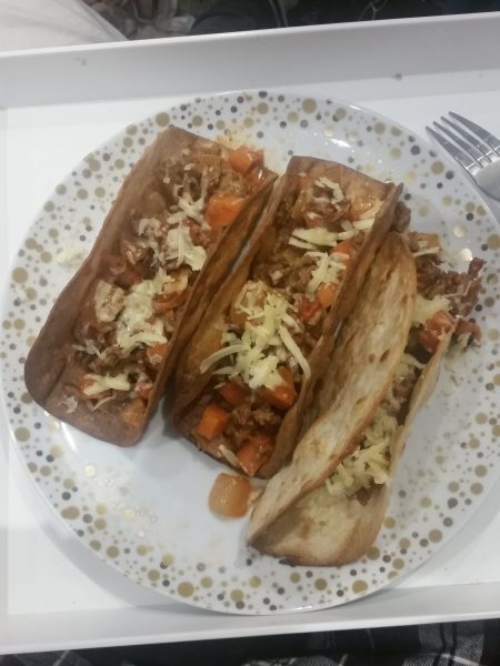 Taco shells with tomato mince mixture