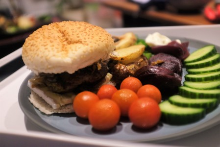 Homemade burger and chips