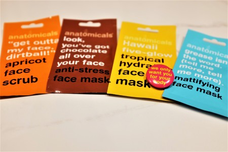 Packet sachets of face masks by anatomicals