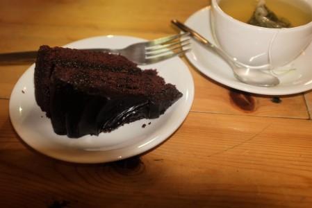 Vegan chocolate cake and green tea