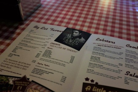 Croydon restaurants menu with a picture of Elvis