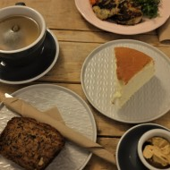 Breakfast, cheesecake and tea from Crushed Bean
