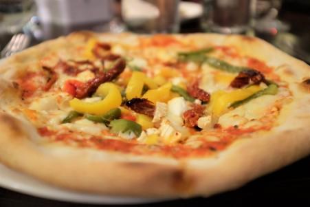 Veggie pizza up close