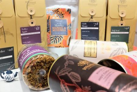 Sachets of tea, pots of tea and hot chocolate tubs