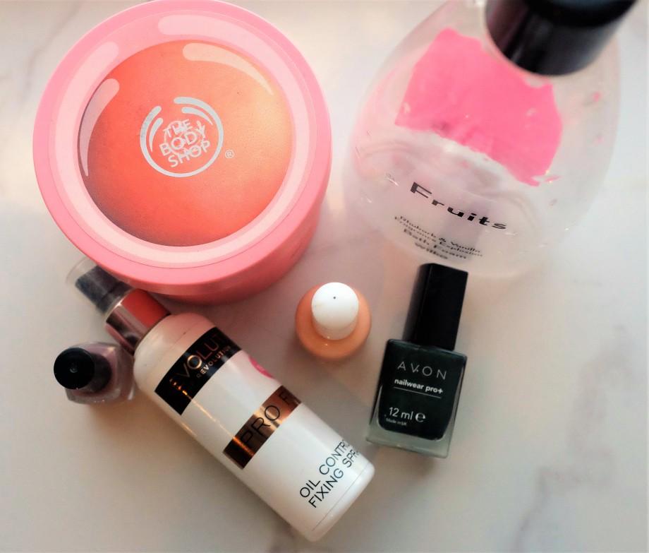 Beauty product empties flatlay