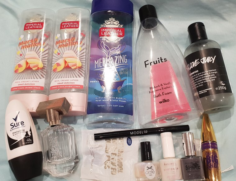 Empty bottles of nail varnish, makeup and bath products for a final 2018 product empties round up.