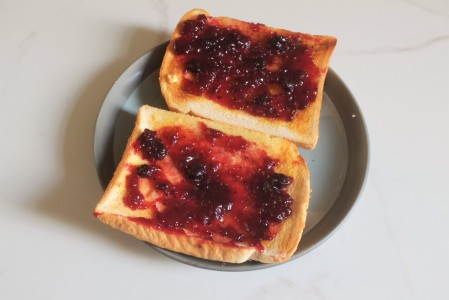 Jam on toast for breakfast