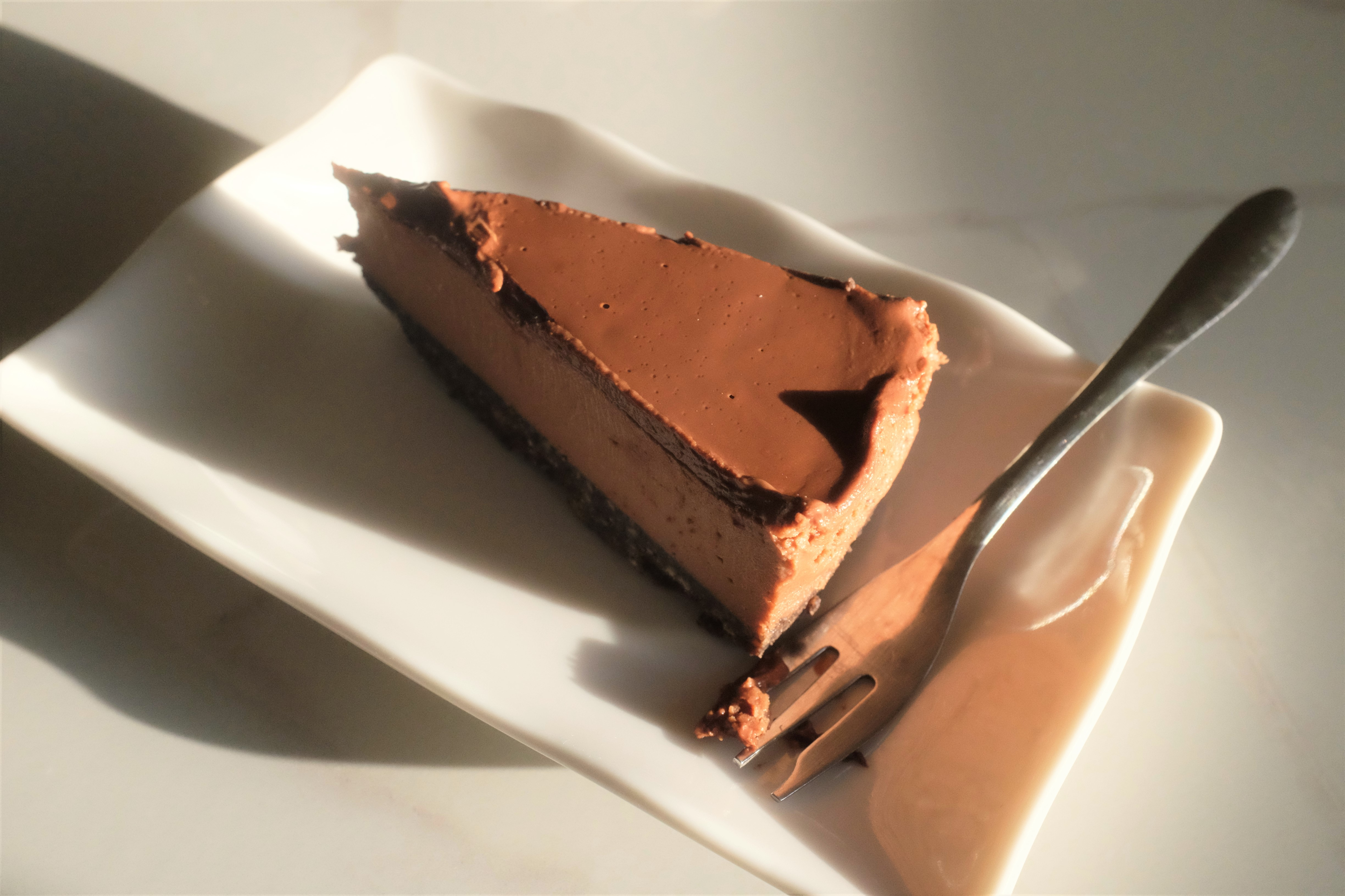 Chocolate cheesecake slice